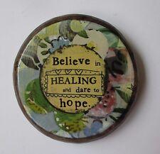 o Believe in healing & dare to hope wood carved display easel KELLY RAE ROBERTS