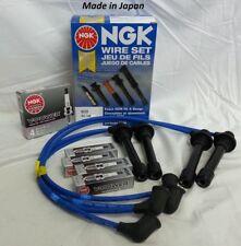 Set of 4 Spark Plugs NGK + Spark Plug Wire Set For: Honda Civic 1.6 Liter