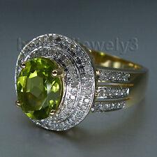 Solid 14kt Yellow Gold Natuiral Diamond Peridot Engagement Wedding Fine Ring