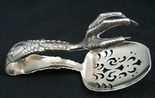 TIFFANY & CO. STERLING SILVER FLORENTINE PATTERN CLAW FOOT ICE TONGS ca1905