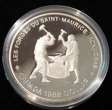 "1988 CANADA SILVER PROOF $1 COMMEMORATIVE COIN ""SAINT-MAURICE IRONWORK""! BOX/COA"