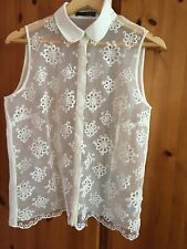 Cream Sheer Sleeveless Flower Embroidered Blouse - Size 14 - Atmosphere/Penneys