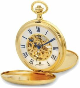 Charles Hubert Gold-Finish Double Cover Striped w/ Shield Pocket Watch