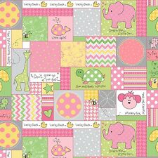 Fabric Baby Animals Patchwork Squares on Pink Flannel by the 1/4 yard BIN