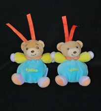 Lot 2 Peluche Doudou Mini Ours KALOO 2004 Liens Attache Tétine Bleu 10 Cm TTBE