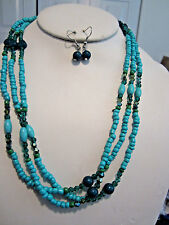 Blue And Teal Small Glass Bead Faceted Glass Bead Long Necklace Earring Set