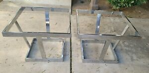 2 Rare Mid Century Modernist Chrome Glass Coffee Side Table BASE Milo Baughman