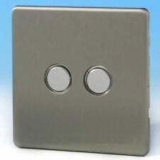 Varilight 2 Gang 2x6A 1 or 2 Way Impulse Switch Screwless Matt Chrome