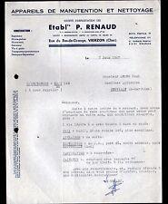 """VIERZON (18) USINE d'APPAREILS de MANUTENTION & de NETTOYAGE """"P. RENAUD"""" en 1962"""