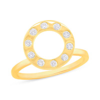 0.22CT 14K Yellow Gold Natural Real Round Cut Diamond Open Circle Cocktail Ring