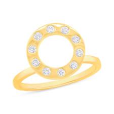 0.22CT 14K Oro Amarillo en Diamante Talla Redonda Círculo Abierto Anillo de
