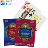 2 DECKS FOURNIER 818 LINEN POKER PLAYING CARDS DECKS RED AND BLUE NEW