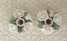 RARE: Pair Golden Crown E&R England Fine Bone China Hand Painted CANDLE HOLDERS