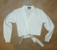BODY WRAPPERS White Wrap Sweater Dance Ballet Knit Child size 7-10 Long Sleeve