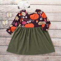 Toddler Infant Baby Girls Pumpkin Print Splice Dress Long Sleeve Halloween Dress