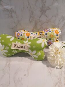 Personalised  dog bone/toy.  Birthday present. Floral fabric. With squeak