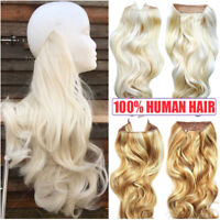 Hidden Secret Headband Wire In Remy Human Hair Extensions Hairpiece Flip No Clip