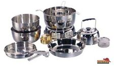 Alcohol Stove Camping Cook Set STAINLESS STEEL 10 Piece Metho Camp Hiking