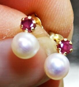 9ct Gold Earrings Pearl Cultured Ruby Stud Gift Boxed Made in UK 9 Carat Yellow
