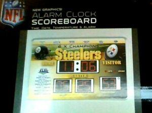 "Pittsburgh Steelers Scoreboard Desk Clock (9""25 x 6.5"") SUPER BOUL 6 X CHAMPIONS"