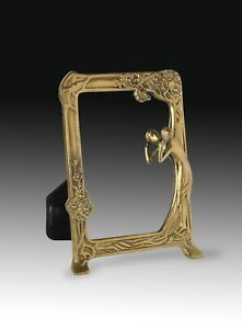 Metal table mirror, Art Nouveau style. 20th century.