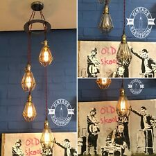 NEW INDUSTRIAL 4 X CAGE HANGING LIGHTS CEILING VINTAGE LAMPS CAFE BARN PUB