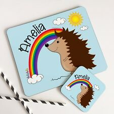 Personalised Wooden Glossy Rainbow Hedgehog Hard Placemat & Coaster Set for Kids
