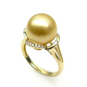 AAA 11.1mm Round Real Golden South Sea Cultured Pearl Ring 14K Solid Yellow Gold
