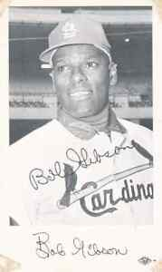 Vintage circa 1968 Bob Gibson Signed autograph team issued photo postcard rare