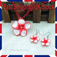 Flower Earrings Necklace Jewellery Set crystal Red Girls Ladies Children