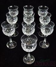 CRYSTAL Set of 10 WINE GLASSES Stemware ROSE BLUSH Glass Lot GOBLET STEM Diamond