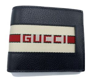 Gucci Bifold Red Strip Leather Wallet Made in Italy
