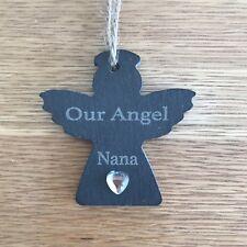 Personalised Christmas Bauble Slate, Angel In Heaven Memorial Nana Memory