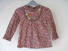 Vintage Style Lovely Brown Floral Long SleeveTop M&S - Autograph - Age 3-4 Years