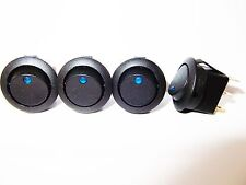 Rocker  Switch  BLUE  Dot  LED  illuminated  20mm 10A  12V   x  4
