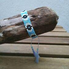 Anthropologie Beaded Tasseled Bracelet In Blue, White & Black - Clearance Price
