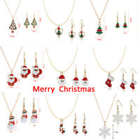 3PCS Christmas Necklace+Earrings Set XMAS Tree Pendant Sweater Chain Jewelry-RO