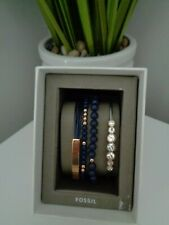 Fossil 3 x Bracelet Gift Set Leather - Silver Crystal - Blue Rose Gold Beaded
