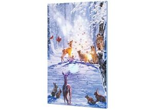Lighted Musical Magic Forest Deer Canvas LED Light Up Picture Print Wall Art