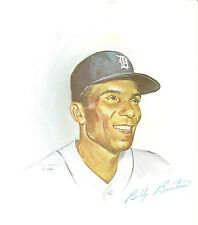 1962 Billy Bruton, Detroit Tigers Color Lithograph RARE