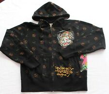 ED HARDY Mens BLACK SKULL & COBRA SNAKE PATCH GRAPHIC SWEATSHIRT HOODY NWT  S