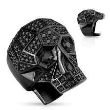 Crystal Paved Faceted Skull Stainless Steel Band Ring in Silver, Gold or Black