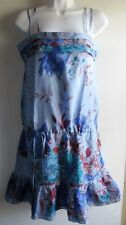 YOANA BARASCHI ANTHROPOLOGIE BLUE FLORAL HAUTE STRAPPY SILK SLIP DRESS SZ XS