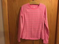 Women's Tek Gear Pink Gray Stripped DryTEK Shirt Size M