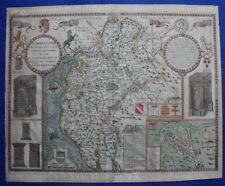 Original antique county map CUMBERLAND, CARLISLE, JOHN SPEED, 1676