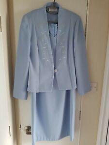 Mark Angelo Blue Dress+Jacket Suit Size 14