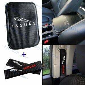 For JAGUAR Car Center Armrest Cushion Mat Pad w/ Seat Belt Cover Embroidery Set