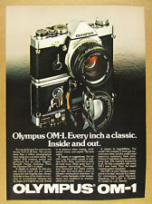 1981 Olympus OM-1 35mm SLR Camera photo vintage print Ad