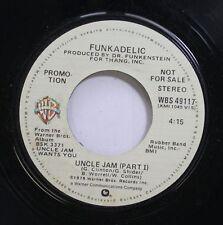 HEAR! Funk Promo 45 Funkadelic - Uncle Jam (Part 1) / Uncle Jam (Part 2) On Wb