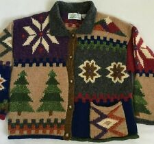 Design Options Christmas Multicolor Cardigan Sweater Trees Snow Flakes Large L